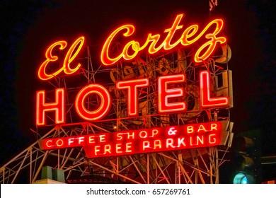 Famous El Cortez Hotel in Downtown Las Vegas - LAS VEGAS / NEVADA - APRIL 23, 2017