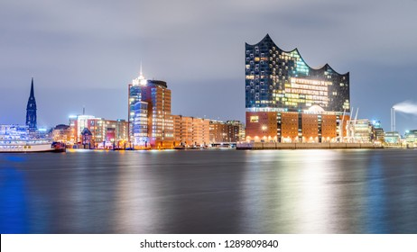 The famous Elbphilharmonie and Hamburg harbor at night