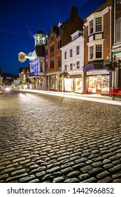 Famous English street at night Guildford High Street Surrey England