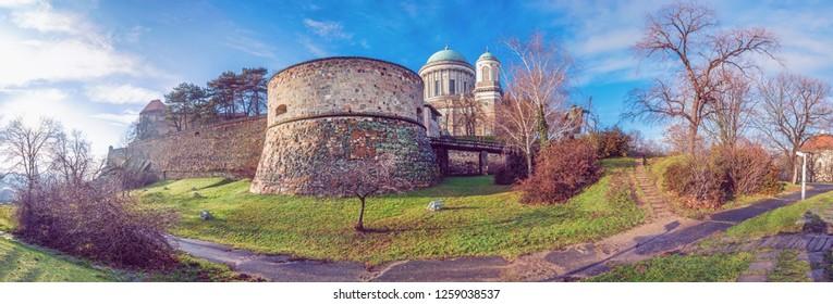 Famous Esztergom basilica, Esztergom, Hungary. Panoramic scene. Travel destination. Purple photo filter.