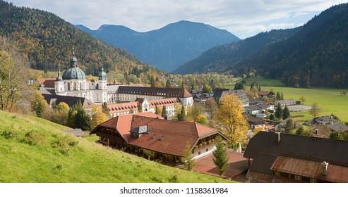 famous ettal village and cloister, rural bavarian landscape in autumn