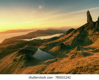 Famous exposed rocks Old Man of Storr, north hill in the Isle of Skye island of Highlands in Scotland.