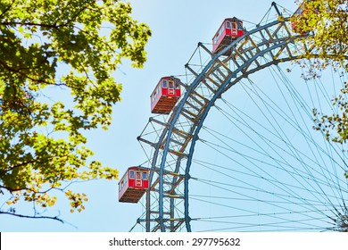 Famous Ferris Wheel of Vienna Prater park called Wurstelprater