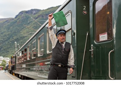 The famous Flam Railway Station and Train Conductor -Flamsbana , Norway 18-09-2013