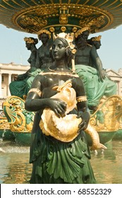 "The famous ""Fontaine des Mers"" fountain (also known as ""La Marine"": 1830-1840) at the Place de la Concorde in Paris."