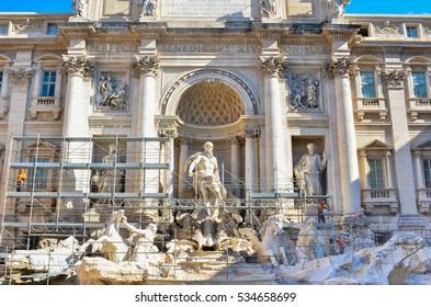 The famous Fontana di Trevi under restoration work