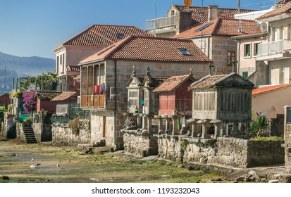 famous food starage house, so called Horreos in the village of Combarro, Pontevedra, Galicia, Spain
