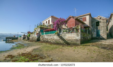 famous food starage houses, so called Horreos in the village of Combarro, Ria de Pontevedra, Galicia, Spain