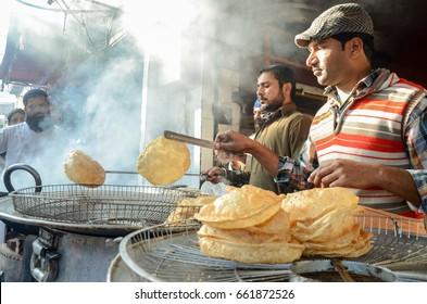 The Famous Food Street near Badshahi Mosque, Lahore, Punjab, Pakistan on 8th January 2017