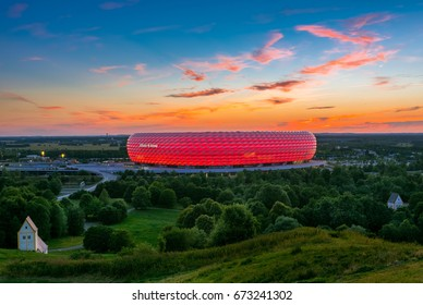 Famous football stadium Allianz Arena in Munich, Bavaria, Germany, Europe, 5. July 2017