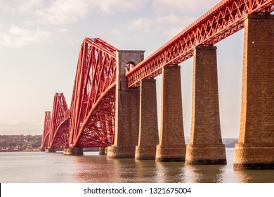 Famous Forth Rail Bridge in Queensferry Crossing, Scotland. Photo taken from South Queensferry