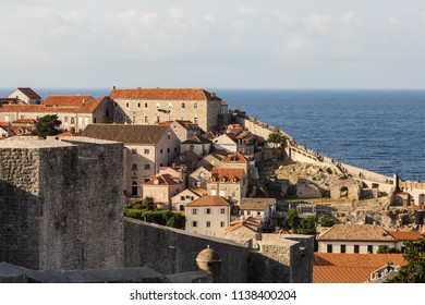 The famous fortification of Dubrovnik old town by the Adriatic sea on a sunny summer day in Croatia in Eastern Europe.