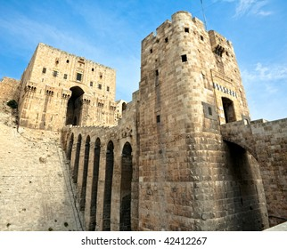 Famous fortress and citadel in Aleppo, Syria. Entrance bridge.