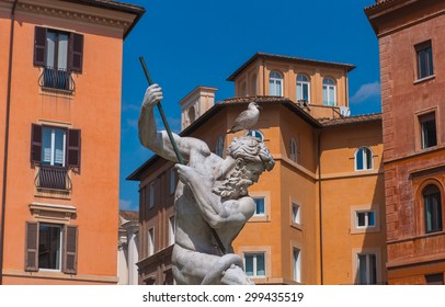 The famous Fountain of Neptune is a fountain in Rome, located at the north end of the Piazza Navona.
