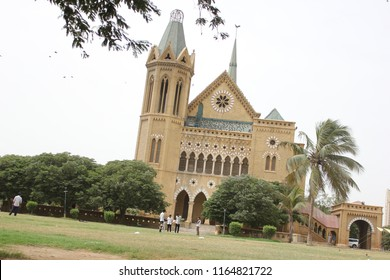 The famous Frere Hall . British architecture luxury Monuments,  patterns, pillars and stone carving and King's Lawn. It now serves as an exhibition hall and library. Karachi, Pakistan, 20 AUG 2018
