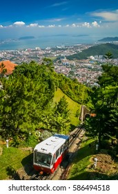 Famous funnicular going up the Pennang Hill in Malaysia with spectacular views from the top