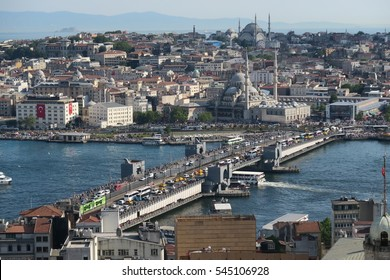 Famous Galata Bridge, the Golden Horn and Bosphorus in Istanbul, Turkey