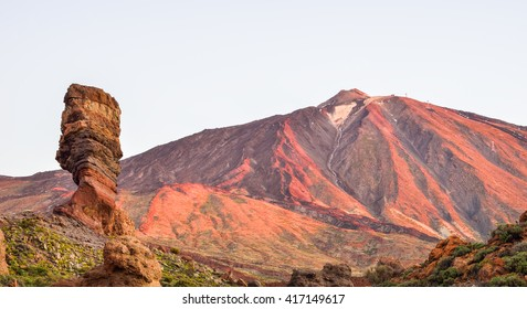 Famous Garcia stone in Tenerife National Park, on Teide mountain, illuminated at sunset in summertime, Spain - Europe