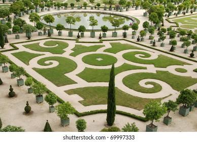 Famous gardens near palace Versaillesnext to Paris, France
