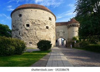 Famous gate in Tallinn. Capital of Estonia