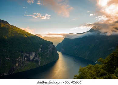 Famous Geirangerfjord on a beautiful evening in Norway