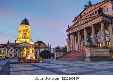 The famous Gendarmenmarkt square in Berlin at dawn