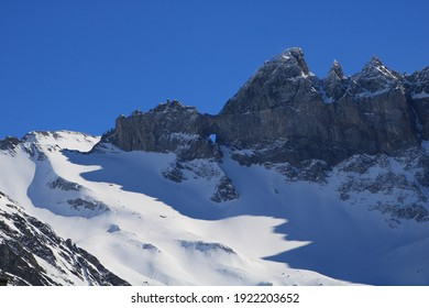 Famous geological feature Martinsloch in winter.
