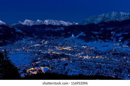 famous german resort town Garmisch-Partenkirchen in cold winter night