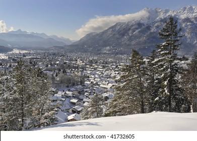 famous german town Garmisch-Partenkirchen in winter