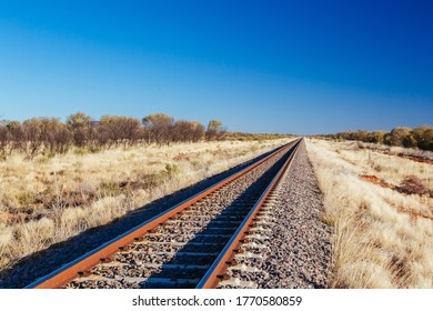 The famous Ghan railway track near Alice Springs extends all the way to Darwin in Northern Territory, Australia