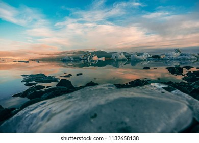 Jökulsárlón, the famous glacial lake in Iceland. The lake developed only 60 years ago, when the glaciar started receding from the edge of the Atlantic Ocean.