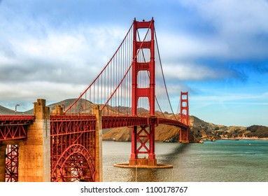 The famous Golden Gate Bridge in San Francisco California on a quiet May afternoon