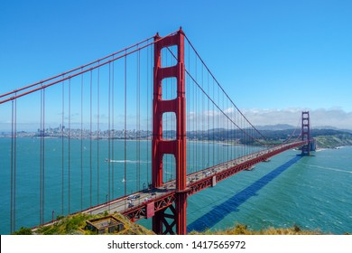 Famous Golden Gate Bridge. Suspension bridge. The structure links the American city of San Francisco, California, the northern tip of the San Francisco Peninsula to Marin County, USA. 05/18/2019