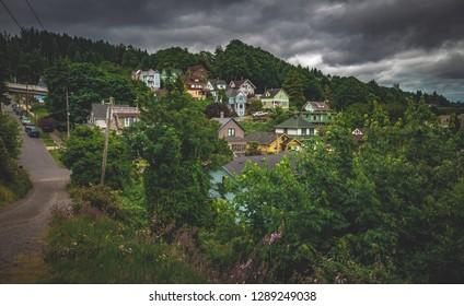 "The famous ""Goondocks"" or ""Goonies"" hillside neighborhood in Astoria, Oregon, United States."