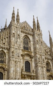 A famous gothic Milan cathedral in Italy
