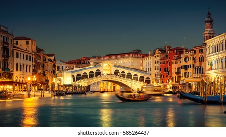 Famous Grand Canal and Rialto Bridge at sunset, Venice, Italy