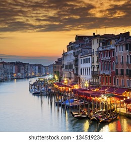 Famous Grand Canal at sunset, Venice
