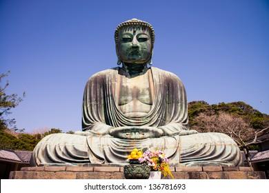 Famous great buddha (Daibutsu) sculpture of Kamakura city.