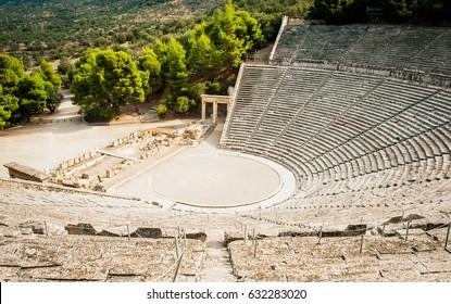 Famous Greek ancient amphitheater in Epidaurus, Greece