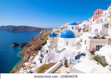 The famous Greek Orthodox churches in Oia Village - Santorini, Greece