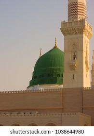 The famous green dome of Nabawi Mosque (Masjid of Prophet Muhammad PBUH) in the holy city of Medina (Madinah Al-Munawaarah), Kingdom of Saudi Arabia.