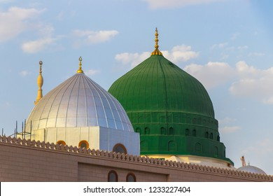 The famous green and silver domes of the Prophet's Mosque. Masjid an-Nabawi. The mosque was founded by Prophet Muhammad.