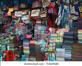 The famous haberdashery shop selling clothes, textile and fabric at the central market at Phnom Penh, Combodia.