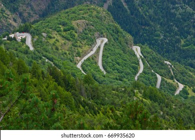 The famous hairpin curves of Alpe d'Huez - Tour de France