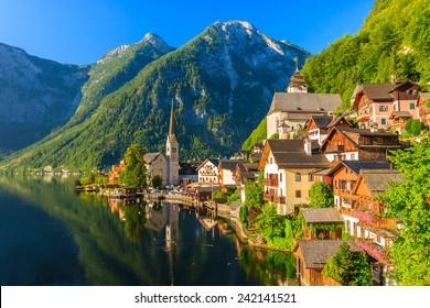 Famous Hallstatt mountain village and alpine lake, Austrian Alps