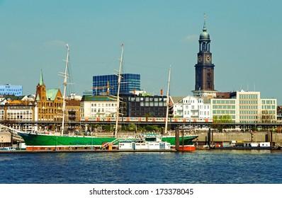 famous hamburg harbor with michel church and sailing ship rickmer rickmers