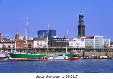 famous hamburg harbor with michle church an sailing ship rickmer rickmers