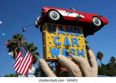 The famous Hand Car Wash in Studio City, California, in the Los Angeles area.
