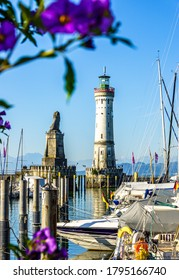 famous harbor with sailboats at the historic island of Lindau am Bodensee - Germany