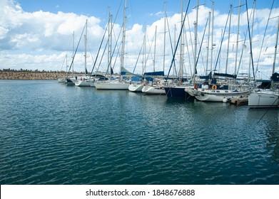 Famous Herzliya Marina with sailing yachts. Israel.
